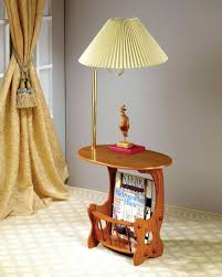 rack side table oak finish wood with and built in brass lamp tables
