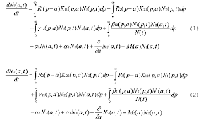 the first two terms in equation 1 are the paal terms in the first term the group of n1 p t pas of age p is multiplied by the average number