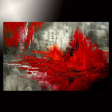abstract knife painting black red original canvas modern fine art artist tatiana abstract