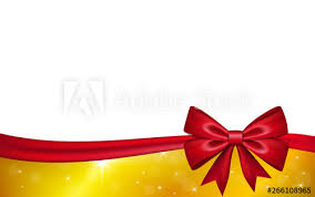 Red Ribbon Design Gold Gift Card With Red Ribbon Bow Isolated On White