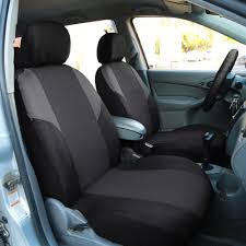 fh group gray universal airbag ready split bench seat covers with steering wheel cover 2