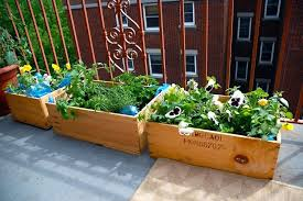 deck gardening containers lawn apartment herb garden balcony ideas with outside sliding glass windowed and deck