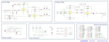 electrosmash pedalshield arduino guitar pedal pedalshield schematic the functionality is simple 2 opamps will prepare the signal to be digitized and also 2 opamps will recover the signal from