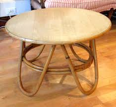 bamboo coffee table round with glass top