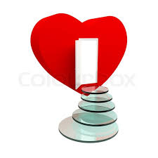 red heart with an open door and steps isolated on the white stock photo colourbox