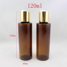 Decorative Bottles For Shampoo And Conditioner 100ml Round Brown Plastic Toner Bottles With Gold Screw Caps 65