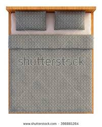 double bed top view. 3D Rendering Bed Top View Isolated On White Double D