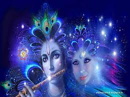 Lord Radha Krishna 3D Wallpaper in Blue ...