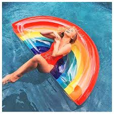 Design Your Own Pool Float Amazon Com Hixgb Inflatable Floating Bed Water Rainbow