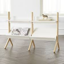 danish white and natural wide bookcase kids