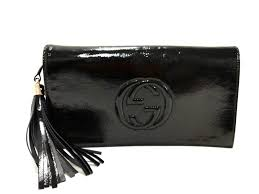 auth gucci soho 336753 black patent leather clutch bag