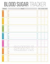 Blood Sugar Tracker Printable For Health Medical Fitness Blood Glucose Log Instant Download