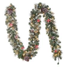 Garland With Lights Lowes Shop Hallmark 9 5 In X 9 Ft Pre Lit Pine Artificial