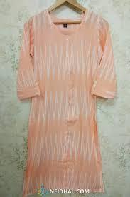 Peach Chevoron Printed Liquid Fabric Kurti Refer Size Chart
