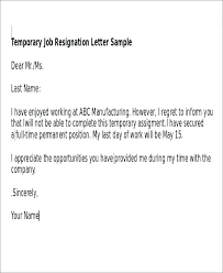 Letters Of Resignation Amazing Job Resignation Letters Application For Resign Helpful Temporary