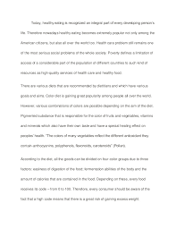 essay healthy eating importance of eating healthy food essay paper sample