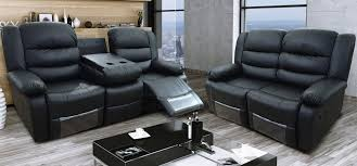 romi black recliners leather sofa set 3 2 seater bonded leather