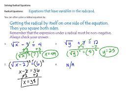 ppt solving radical equations radical