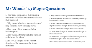 Situational Analysis Questions Ib Business Management Magic Questions Section 1