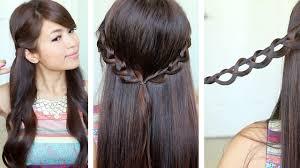 Headband Hair Style chain braid headband hairstyle for medium long hair tutorial youtube 1356 by wearticles.com