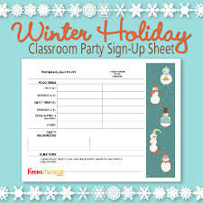 Parent Sign Up Sheet Winter Holiday Classroom Party Sign Up Sheet Pto Today