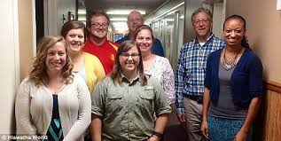 hiawatha teacher who had sex student avoids jail daily mail  the school board accepted bauman s pictured center in green resignation in