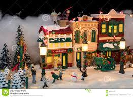 Miniature Village Street Lights Miniature Christmas Village Scene Stock Photo Image Of