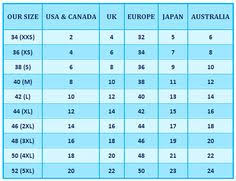 45 Correct Australia Size Chart Compared To Us
