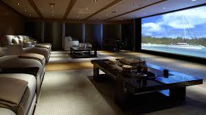 exterior, Luxurious Home Theater Design With Big Home Theater Front  Comfortable Sofa Bed Near Square