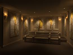 home wall lighting design home design ideas. Home Theater Design With Modern Style Using Grey Leather Sofa And Small Wall Lamp Desisgn For Lighting Ideas H