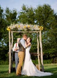 diy sunflowers and baby s breath wedding arch