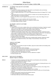 Lecturer Resume Samples Adjunct Lecturer Resume Samples Velvet Jobs 13
