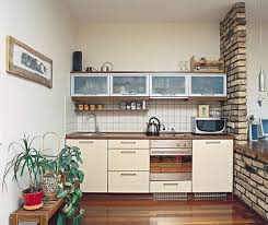 Small Kitchen With Brick Wall Design