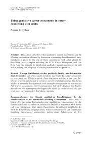 Career Assessments Pdf Using Qualitative Career Assessments In Career