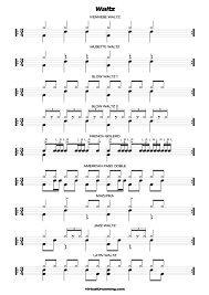 drums sheet music drum beats lessons drumming classes basic waltz rhythms