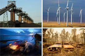 trump s climate views combative conflicting and confusing the clockwise from top left coal stacked at the base of coal loaders along the ohio river in ceredo w va and wind turbines east of wasco ore