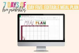 Editable Meal Planner Printable I Heart Planners