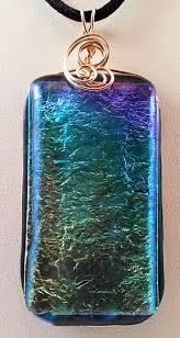 dichroic rectangle fused glass pendant