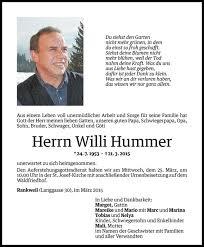 Willi Hummer Danksagung Vn Todesanzeigen