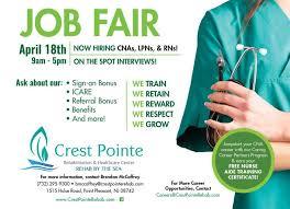 Upcoming Event Crest Pointe Job Fair Crest Pointe