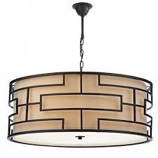 Drum Pendant Lighting Uk Tumola 6lt Geometric Pattern Matt Bronze Ceiling Pendant With Taupe Linen Inner Shade