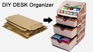 how to make a stationary diy desk organizer using cardboard by craftinghours
