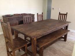rustic dining room chairs. Dining Sets With Benches Rustic Look Simple Design Handmade Stuffs Cream Floor Room Chairs
