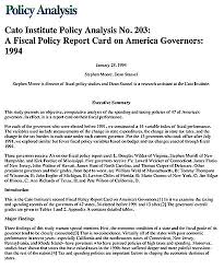 Fiscal Policy Report Card On America's Governors | Cato Institute