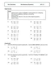 non calculator simultaneous equations worksheet equation worksheets word problems tes simultaneous equations