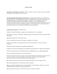 Stock Clerk Job Description For Resume Resume For Study