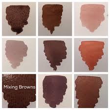 mixing brown watercolor