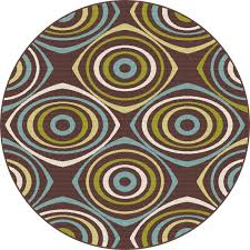 8 round geometric brown indoor outdoor rug garden city rc willey furniture