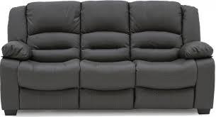 bar grey faux leather 3 seater sofa