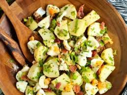 no mayo potato salad with herbed bacon